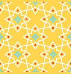 Yellow arabic ornamental ceramic tile vector