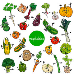 cartoon vegetables characters collection vector image vector image