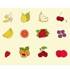 Fruit set sketch vector image
