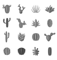 green cactuses icons set monochrome vector image