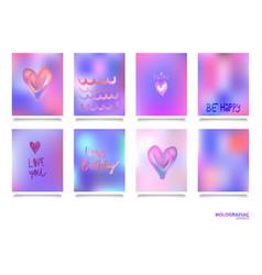 hologram bright colorful backgrounds set vector image