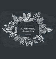 vintage floral template on chalkboard vector image