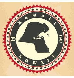 Vintage label-sticker cards of Kuwait vector image