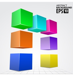 3D Colorful Cube Arc Abstract Background Template vector image