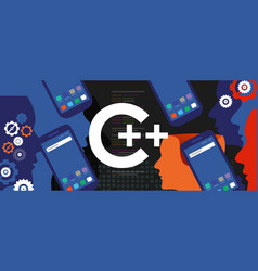 c mobile application programming language coding vector image