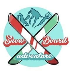 Color vintage ski sport emblem vector
