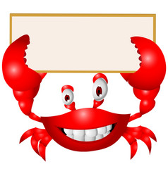 Crab cartoon with blank sign vector image vector image