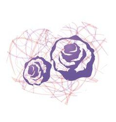Heart consist of blue roses vector