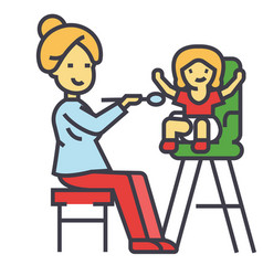 mother feeding child in highchair child feeding vector image