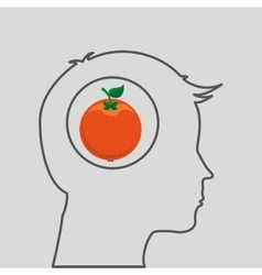 silhouette head with tasty orange icon graphic vector image