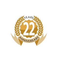 22 years ribbon anniversary vector image vector image