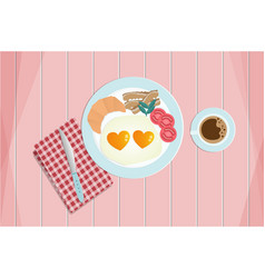 breakfast fried heart shape eggs served with vector image