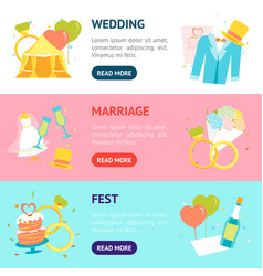cartoon wedding banner horizontal set vector image