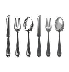 cutlery set spoon fork and knife tableware top vector image vector image