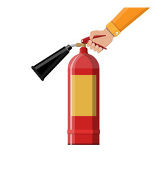 fire extinguisher in hand fire equipment vector image vector image