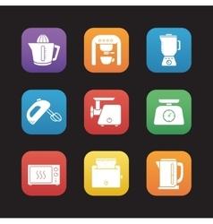 Kitchen electronics flat design icons set vector image vector image