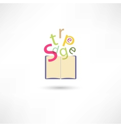 Letters in the open book vector image