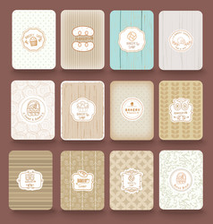 Set of retro bakery labels ribbons and cards vector image vector image