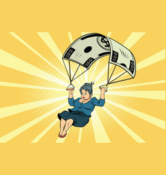 Woman golden parachute financial compensation in vector