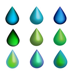 3d green and blue water drops set vector image vector image