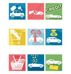 car selling icons vector image