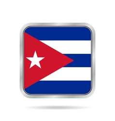 Flag of cuba shiny metallic gray square button vector
