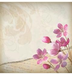 Realistic floral spring grunge background vector image