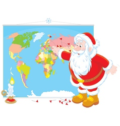 Santa claus with a world map vector