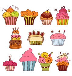 set of delicious cupcakes vector image vector image