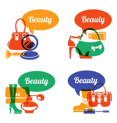 Set of fashion shopping icons vector image