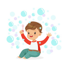 smiling little boy sitting on the floor and vector image vector image