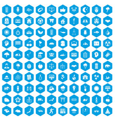 100 harmony icons set blue vector