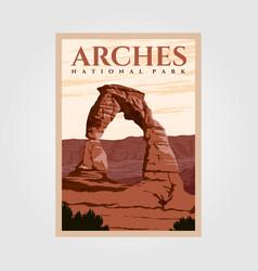 Arches national park outdoor adventure vintage vector