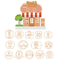 Bakery shop building facade with signboard vector image