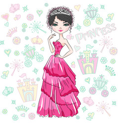 Beautiful fashion girl princess vector