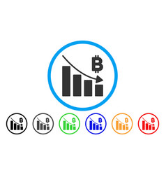 Bitcoin recession bar chart flat icon vector