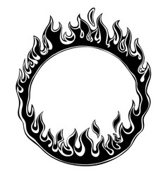 black silhouette fiery ring isolated on white vector image