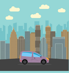 blue car in the city vector image