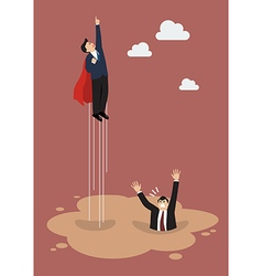 Businessman superhero get away from puddle of vector image
