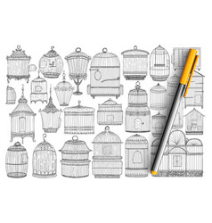 Cages for birds doodle set vector