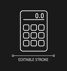 Calculator white linear icon for dark theme vector