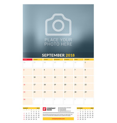 Calendar planner template for 2018 year september vector