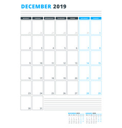 Calendar template for december 2019 business vector