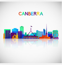 Canberra skyline silhouette in colorful geometric vector