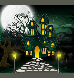 Cartoon of haunted house with full moon background vector