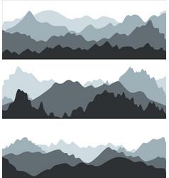 cartoon silhouette black mountains landscape vector image
