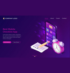 checklist isometric landing page mobile app vector image