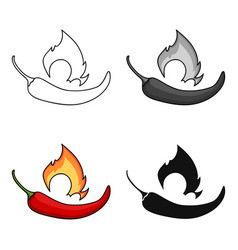 Chili pepper icon in cartoon style isolated on vector