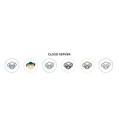 Cloud server icon in filled thin line outline and vector