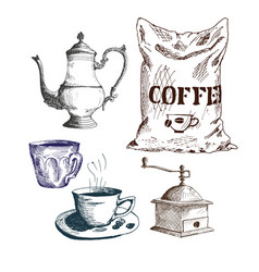 Coffee set cezve coffeepot ibrik coffee maker vector